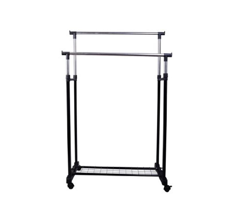 HomCom® Perchero Altura Regulable Colgador Ropa 4 Ruedas Acero Inoxidable Negro 80x43x85-155cm