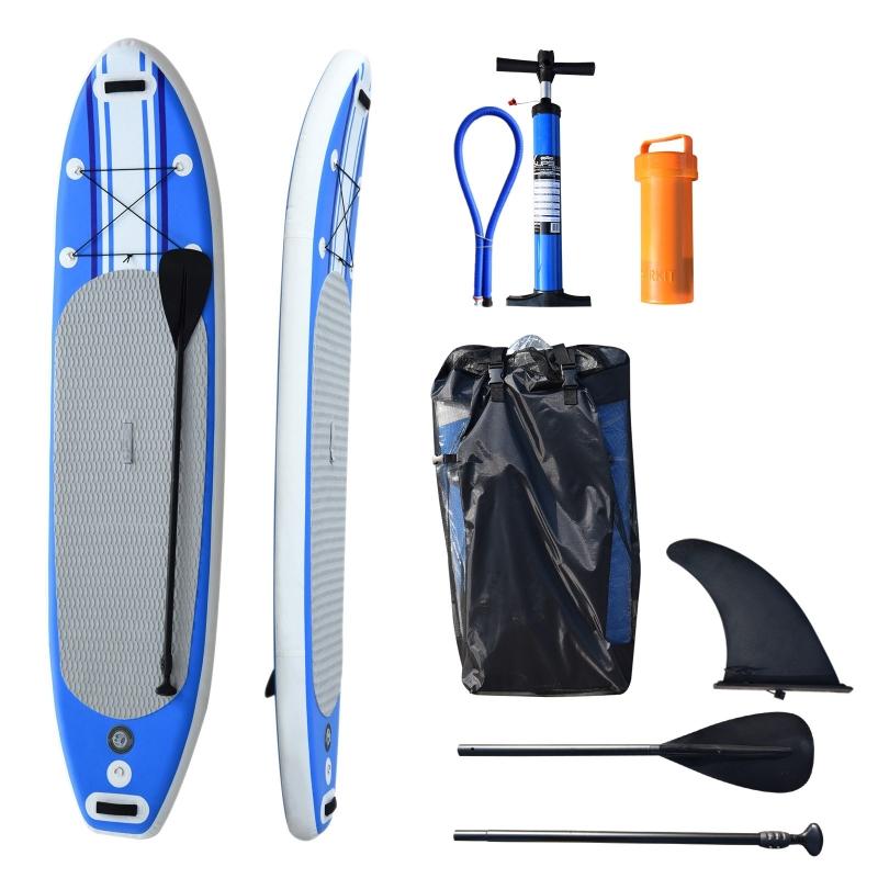 HomCom® Tabla de Paddle Surf  Hinchable con Remo Ajustable y Bomba 305x76x15cm  con 3 Aletas  Kit de Reparación Bolsa de Transporte Ideal para Principiantes