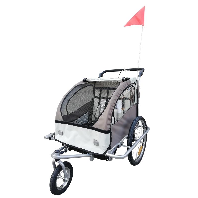 HOMCOM Remolque Infantil para Bicicleta 2 PLAZAS Rueda Giratoria 360 grados Amortiguadores BARRA INCLUIDA Kit Footing BEIGE