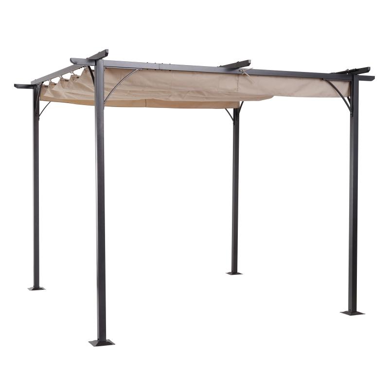 Outsunny Cenador con Techo Retráctil Pérgola 3x3m para Jardín Terraza o Patio Gazebo con Tela Poliéster Resistente al Agua y UV Color Beige