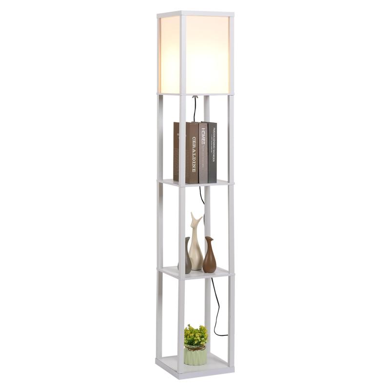 HOMCOM Lámpara de Pie de Madera con 3 estantes para Dormitorio Sala de Estar para Bombilla E27 Potencia Máx. 40W 26x26x160 cm Blanco