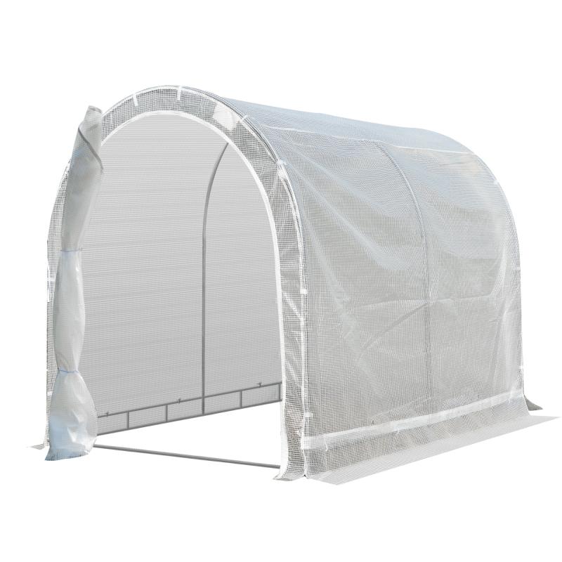 Outsunny Invernadero de Jardín 240x180x195 cm Caseta Tipo Túnel para Cultivo de Plantas Verduras con 2 Puertas Enrollables Acero Verde