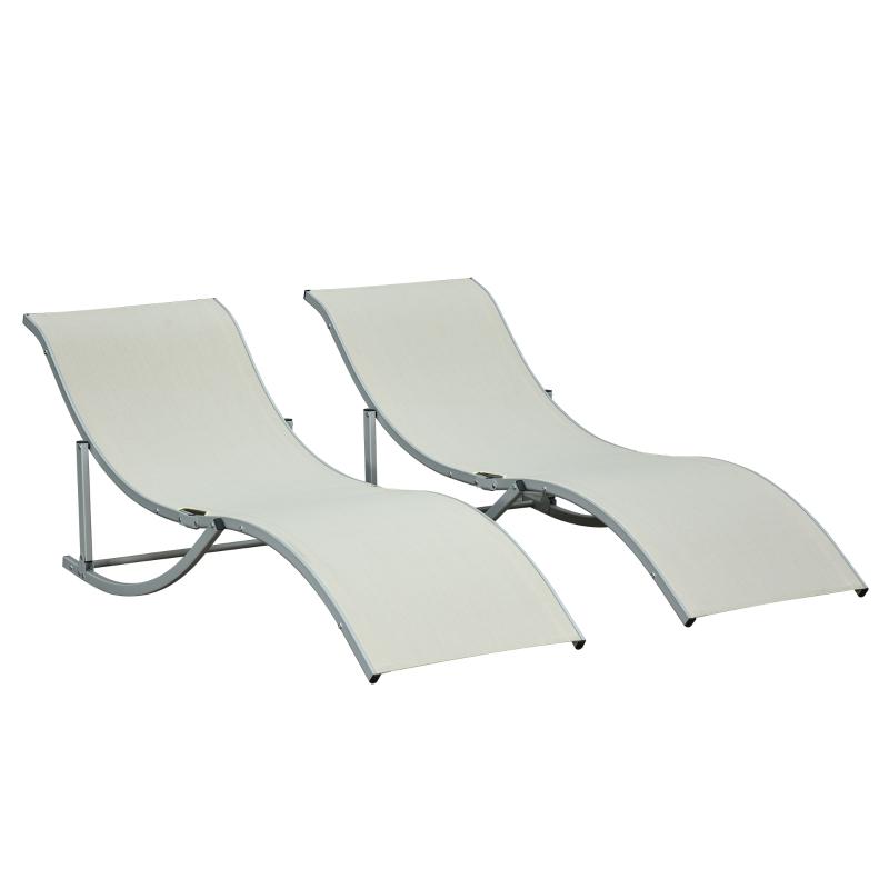 Outsunny 2 Tumbonas Plegables en Forma de S Ergonómica con Marco de Aluminio Textilene para Piscina Patio Jardín Terraza 165x61x63 cm Beige
