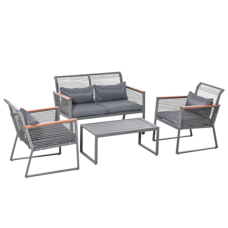 Outsunny Conjunto de Muebles de Jardín de 4 Piezas Ratán con 1 Mesa de Café 1 Sofá Doble y 2 Sillas Individuales Cojines Acolchados para Patio Terraza Gris