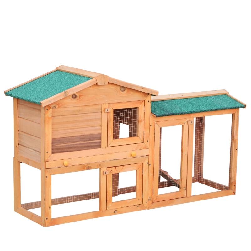 PawHut Conejera para Exterior Jaula de Conejos Centro de Actividades Espacioso Resistente al Agua con Cajón Extraíble Bisagras de Metal Fuerte Seguro Malla Galvanizada 145x46x85 cm