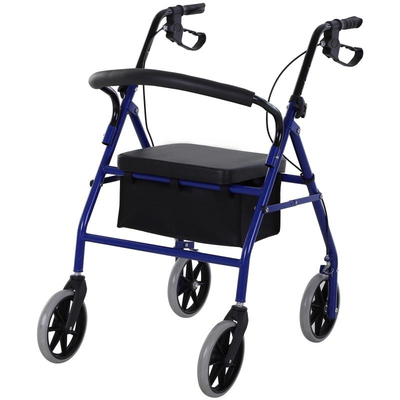 HOMCOM Andador para Adultos Plegable Rollator 2 en 1 con Asiento Acolchado Ajustable Frenos Reposapiés y Bolsa de Almacenaje Incorporada Metal 77x55.5x84-93 cm Azul y Negro