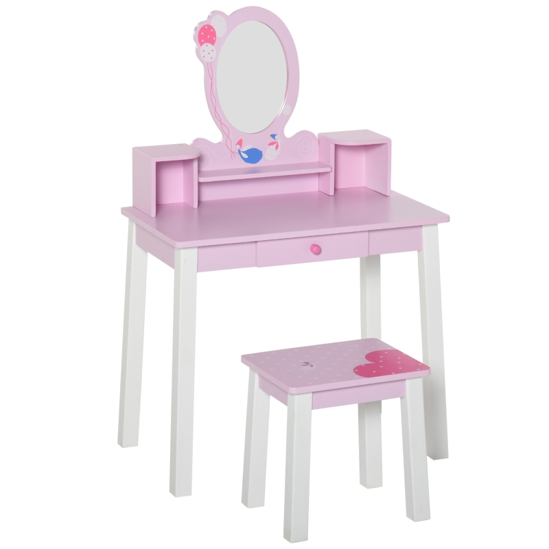 HOMCOM Kids Dressing Table W/Stool Set-Pink