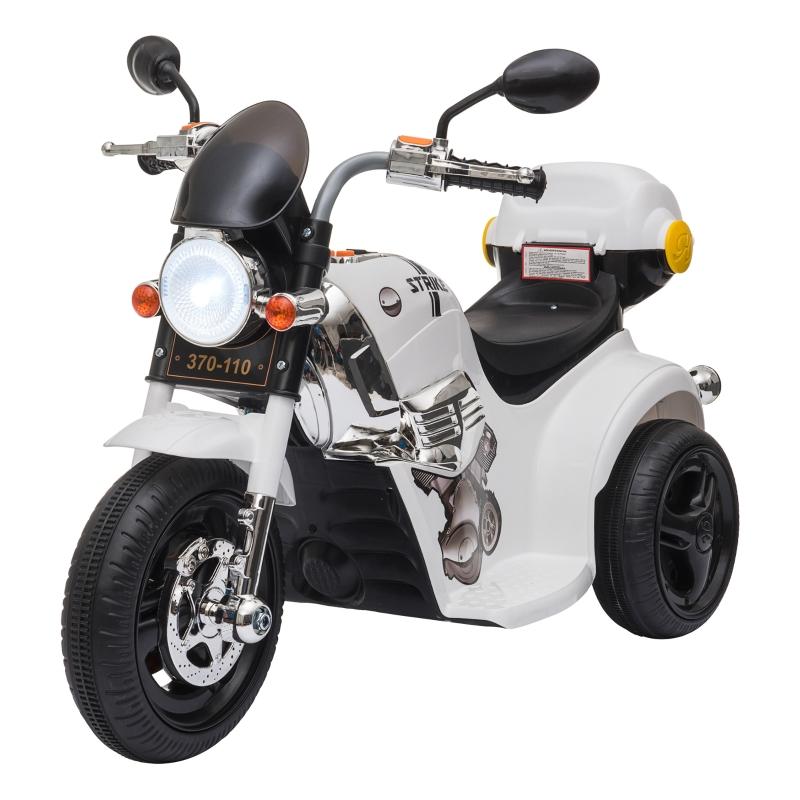 HOMCOM Moto Triciclo Eléctrico para Niños de +18 Meses Moto Eléctrica Infantil con 3 Ruedas Batería 6V con Botón de Música Bocina Luces y Maletero 87x46x54 cm Blanco