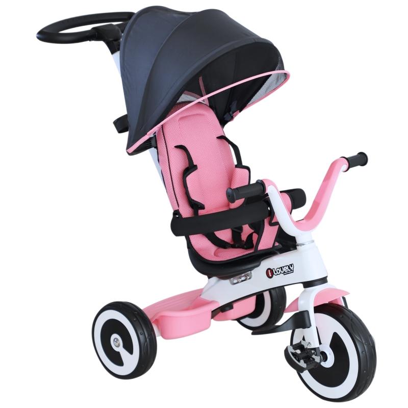 HomCom® Triciclo Bebé  4 en 1 Trolley Trike Bicicletas para Niños +18 Mes Evolutivo Capota Barra y Pedales Desmontables Control Parental Juguete Aprendizaje