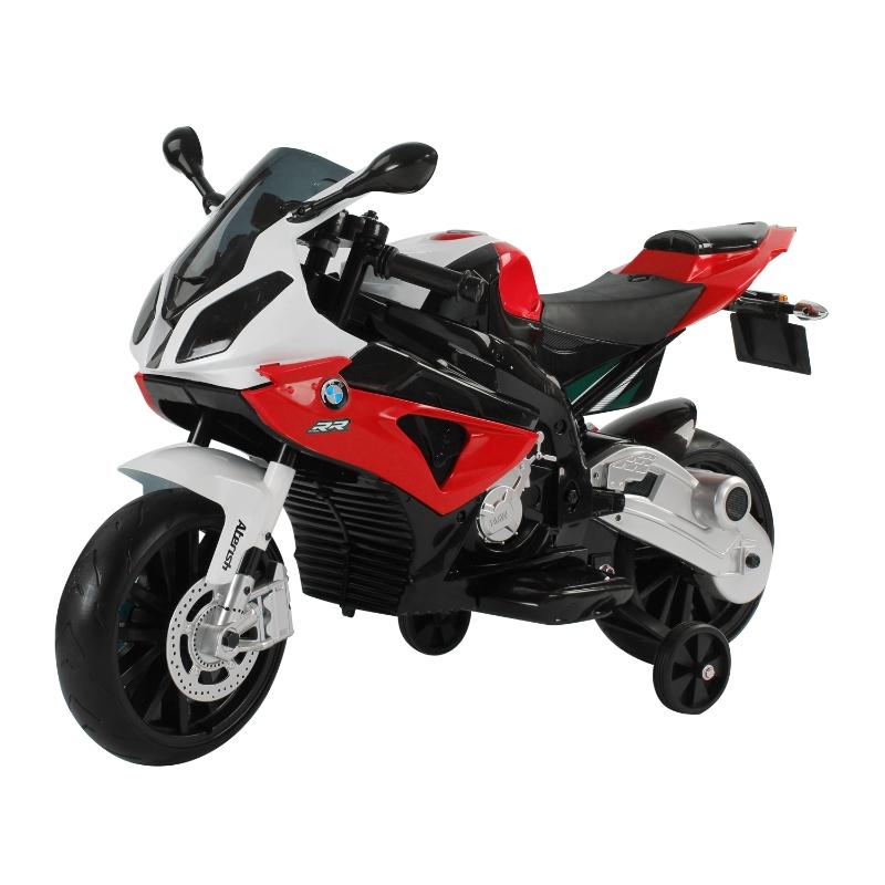 HOMCOM Coche Correpasillos +3 Años Moto Eléctrica Batería 12V Doble Motor con Luces y Sonidos 110x47x69 cm Rojo y Negro