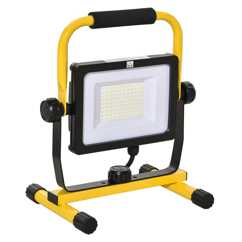HOMCOM Foco de Trabajo LED 50W Luz de Trabajo Portátil 360° Giratorio Impermeable IP65 Iluminación 5000-6000 Lúmenes 5000K Blanco Frío para Taller Garaje Camping 27x19x32 cm