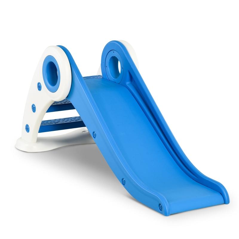HOMCOM Tobogán Infantil para Niños de +3 Años Tobogán Ancho Plegable con Escaleras Rampa Larga para Jardín Parque Interiores 120x50x56 cm Azul