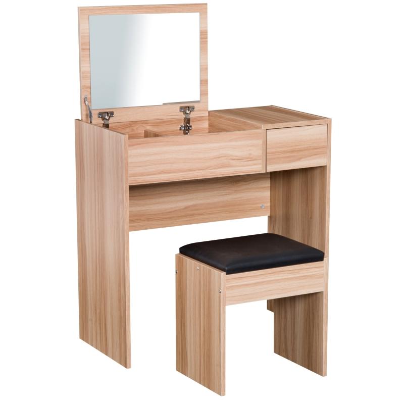 HomCom® Tocador con Taburete Espejo Tapa Abatible Mesa para Maquillaje 3 Cajas y 1 Cajón