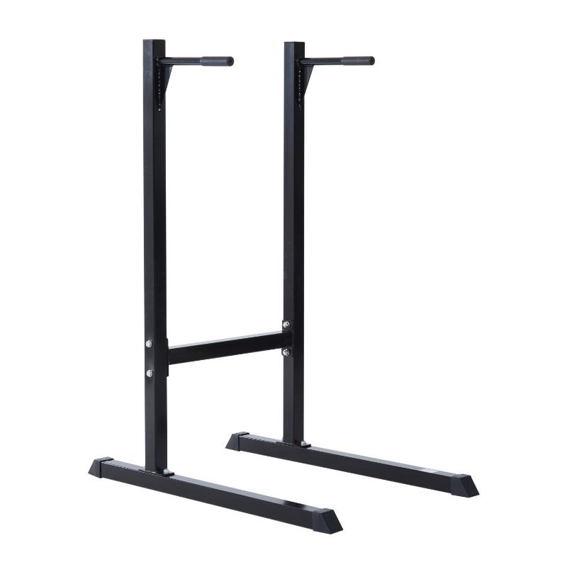 HomCom Estación Dip de Musculación - Negro Acero Hasta 120kg
