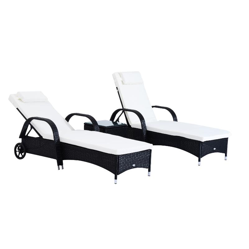 Outsunny Set de 2 Tumbonas Chaise Longue + 1 Mesa de Ratán para Jardín o Terraza Sillas con Cojín y Respaldo Ajustable a 5 Niveles - Negro
