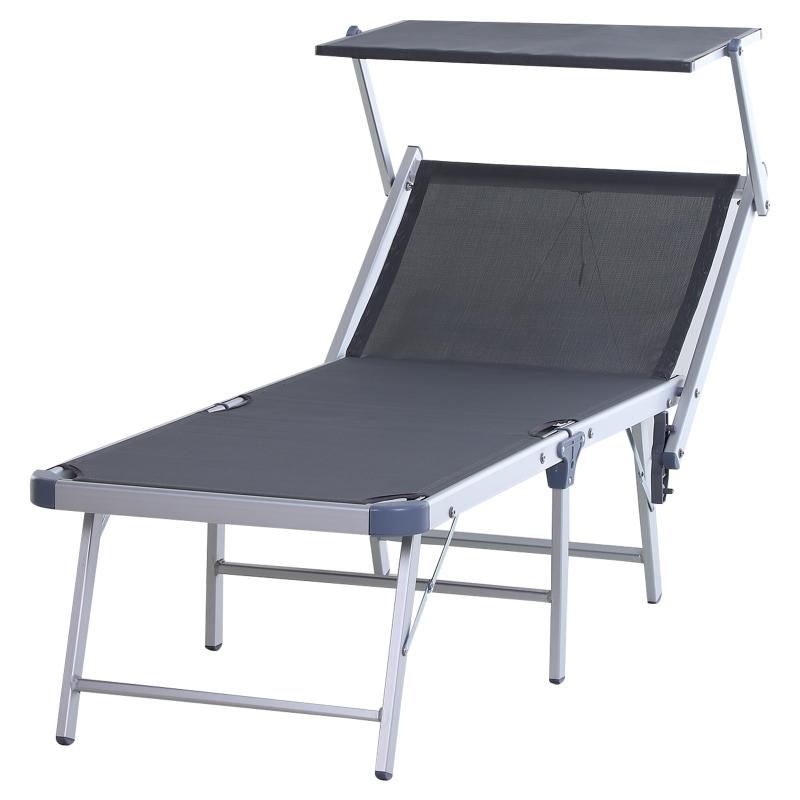 Outsunny Tumbona Plegable y Reclinable con Toldo Incorporado Aluminio y Texteline para poner junto a piscina 169x72x55/72cm Gris