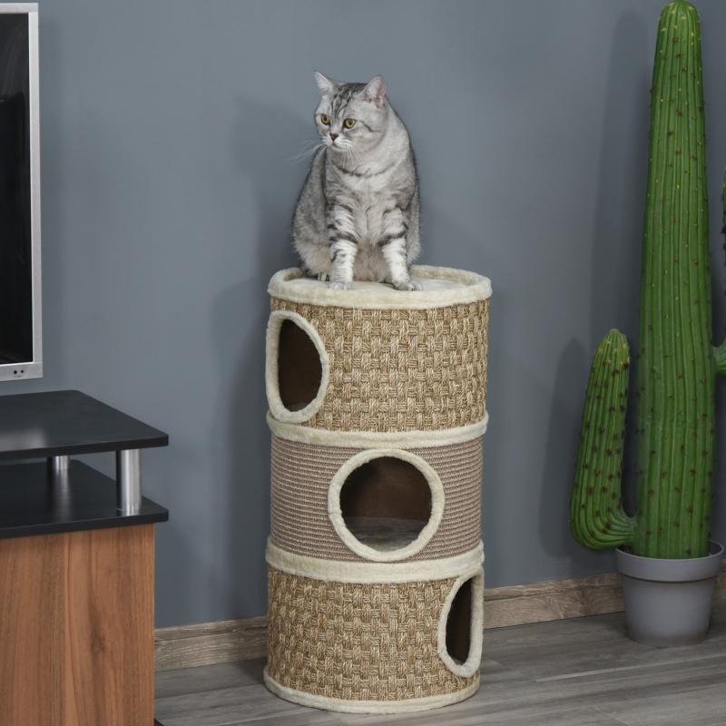 PawHut Tonel Rascador para Gatos con 3 Niveles Barril de Rascado con Plataforma Cama Cómoda 37,5x37,5x70 cm Marrón Claro y Beige