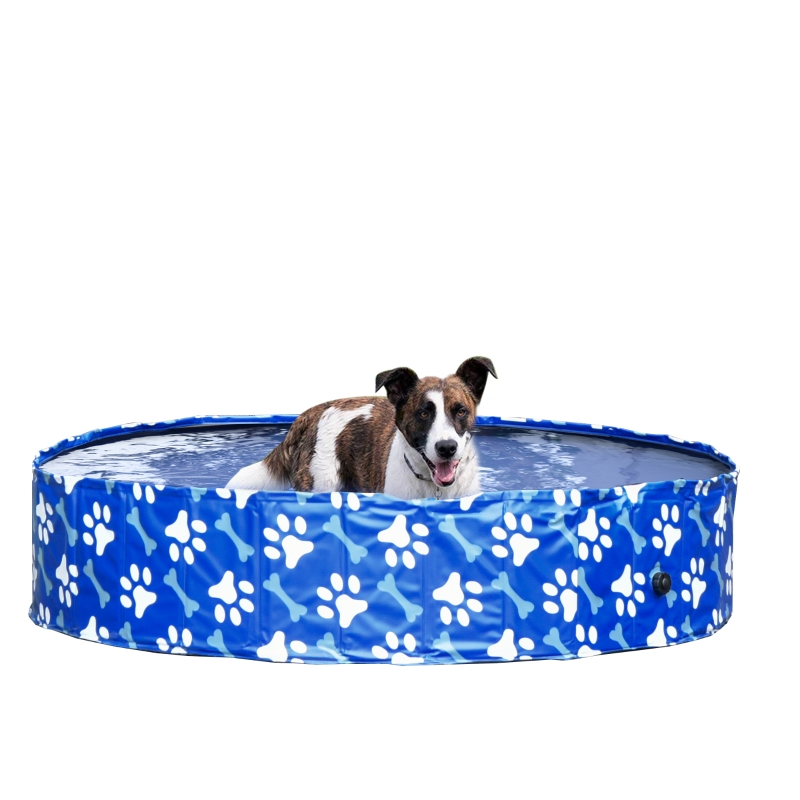 PawHut Piscina Plegable para Perros Diámetro Ø140 cm Bañera de Mascotas Portátil de PVC con Fondo Antideslizante para Interiores y Exteriores Azul