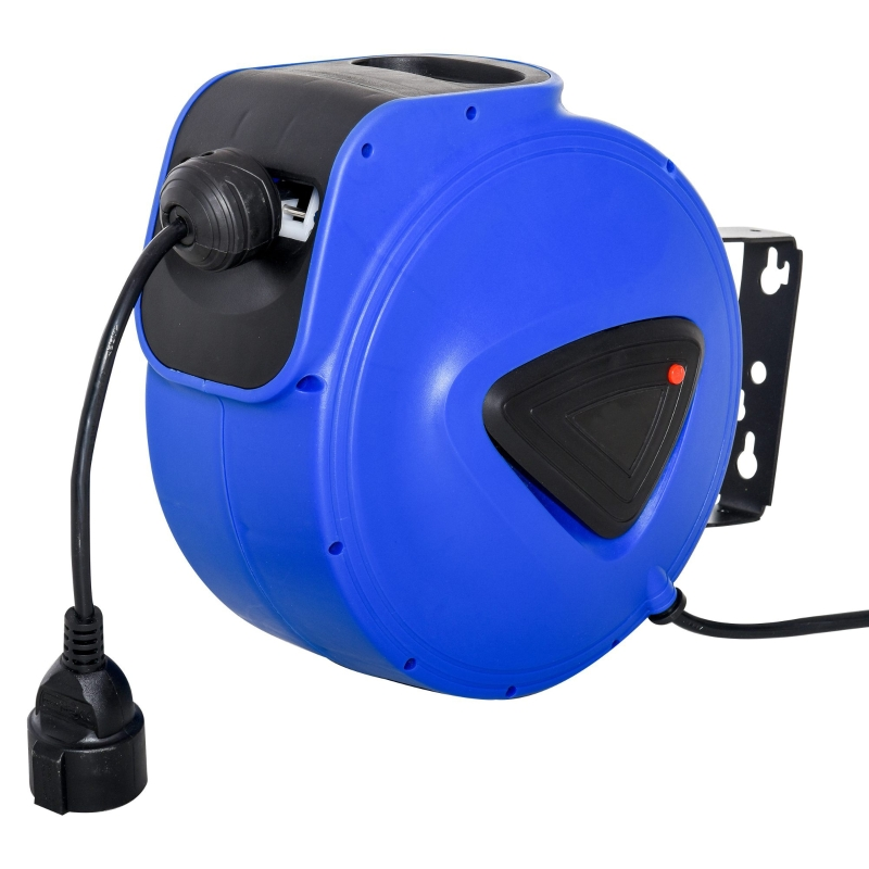 DURHAND Carrete de Cable Automática Retráctil de 20m Carrete Enrollador con Protección Térmica Montaje en Pared 28x20x27 cm Azul