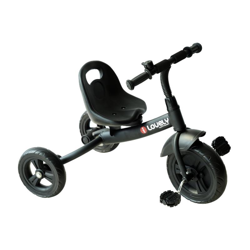 HOMCOM Triciclo para niños de más de 18 meses con Timbre Guardabarros y Ruedas de Seguridad Color Negro 74x49x55cm