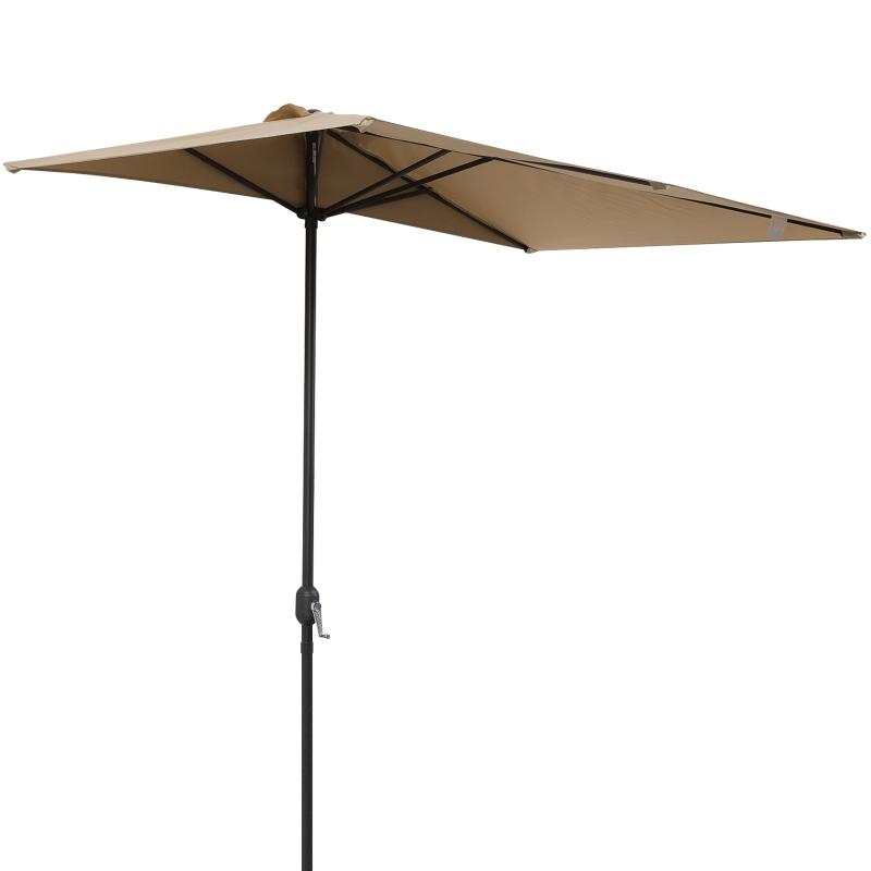 Outsunny Sombrilla de Media Pantalla de Jardín Parasol de Patio Terraza Rectánculo con Manivela Resistente al Agua y UV 230x130x245cm