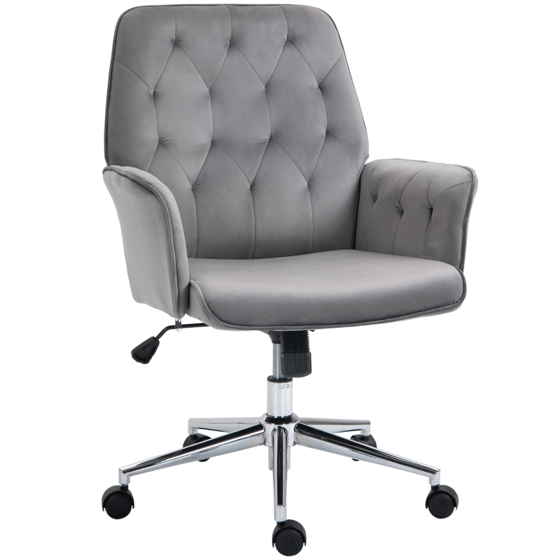 Vinsetto Swivel Computer Chair w/ Arm Modern Style Tufted Home Office Bedroom Deep Grey