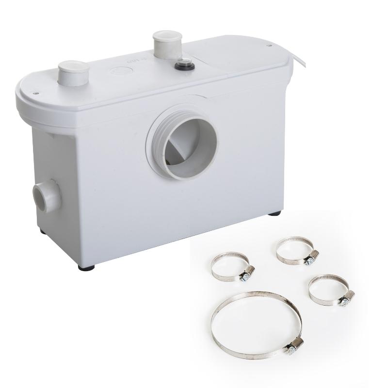 HOMCOM Bomba Trituradora de Agua Residual para Baño Lavabo o Cocina Uso Largo Triturador Sanitario de 700W con 3 Entradas 51x21x31 cm Blanco