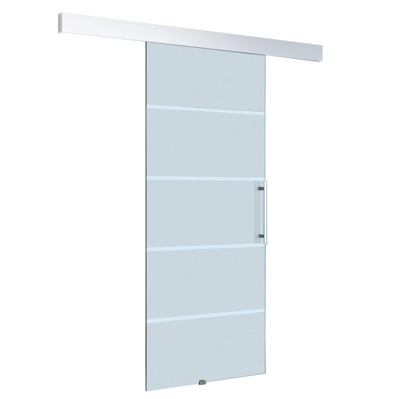 HomCom® Puertas Correderas de Cristal Translúcido con 4 Rayas Instalación sin Obras - 205x102,5 cm