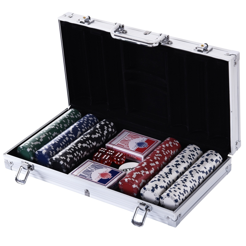 HOMCOM Juego de Póker con 300 Fichas Juego de Chips de Póquer con Caja de Aluminio