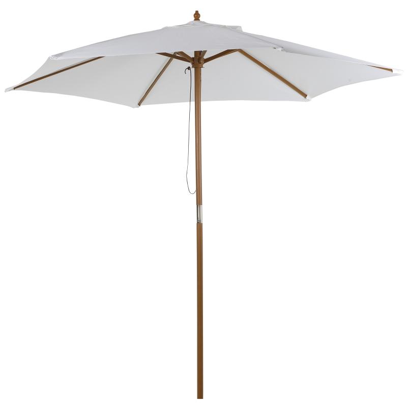 Outsunny Sombrilla Parasol de Madera Ø250x230cm para Exterior Jardín Terraza Patio Cafetería con 6 Varillas Sistema de Cuerda