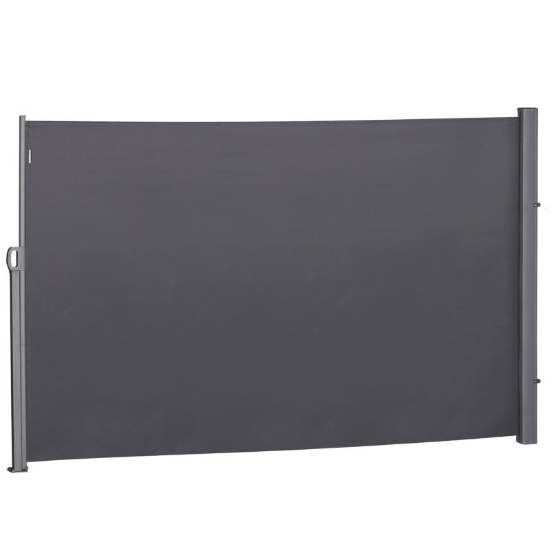 Outsunny Toldo Lateral Retráctil 300x160 cm Pantalla Enrollable Mampara de Privacidad y Protección Solar para Balcón Terraza Color Gris