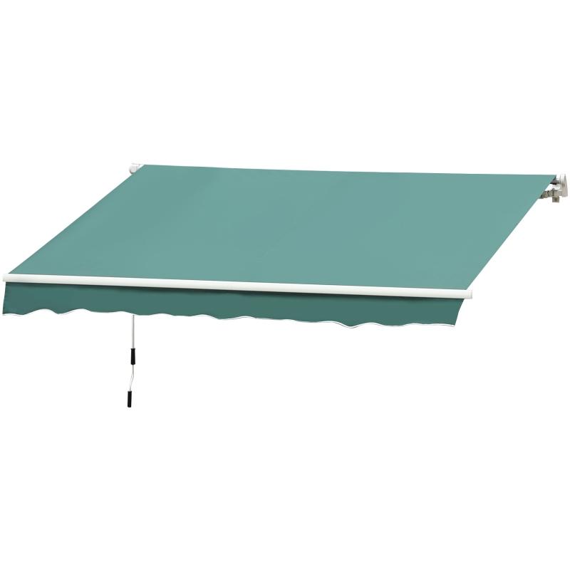 Outsunny Toldo Manual Plegable de Aluminio de 400x250cm con Manivela para Patio Balcón Jardín y Terraza Tela de Poliéster 280g/m²  Color Verde Oscuro