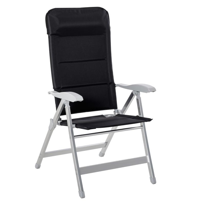 Outsunny Silla de Jardín Plegable de Aluminio con Respaldo Alto Ajustable en 7 Posiciones y Reposacabezas Acolchado para Exterior 75x61,5x114,5 cm Negro
