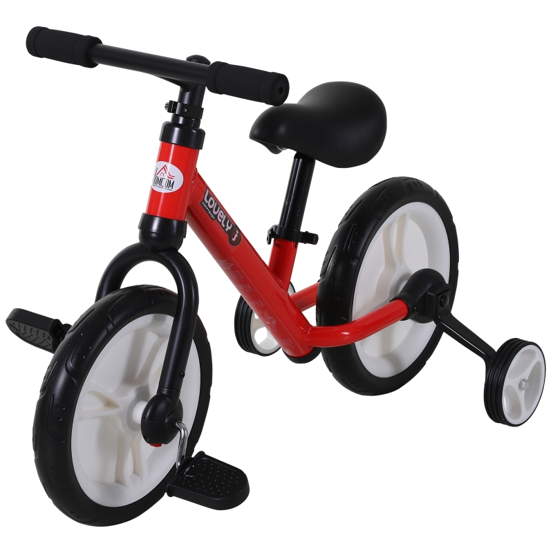 HOMCOM Bicicleta 2 en 1 de Equilibrio con Pedales y Ruedines Extraíbles de Asiento Regulable 33-38cm Niños +2 Años Carga 25kg Rojo
