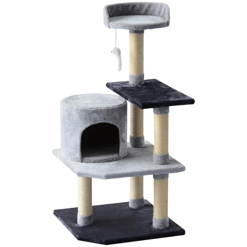 PawHut Árbol para gatos Rascador Grande con Plataformas Casetas Ratón de Juego 48x48x100  cm Cubierto de Felpa Gris