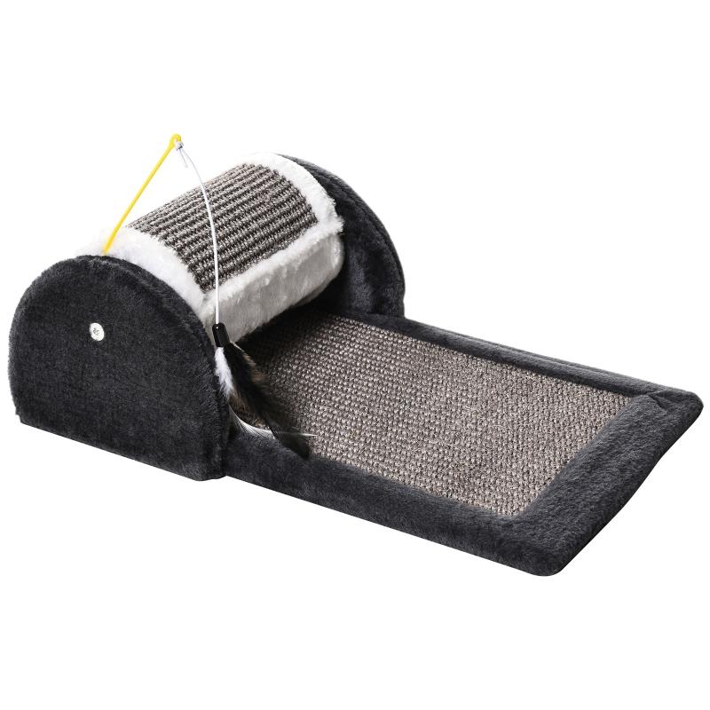 PawHut® Rascador para Gatos Juguete de Arañar Gato Árbol Rascador Centro de Actividad Rodillo y Panel Cubierta de Sisal Natural 45x25x16cm