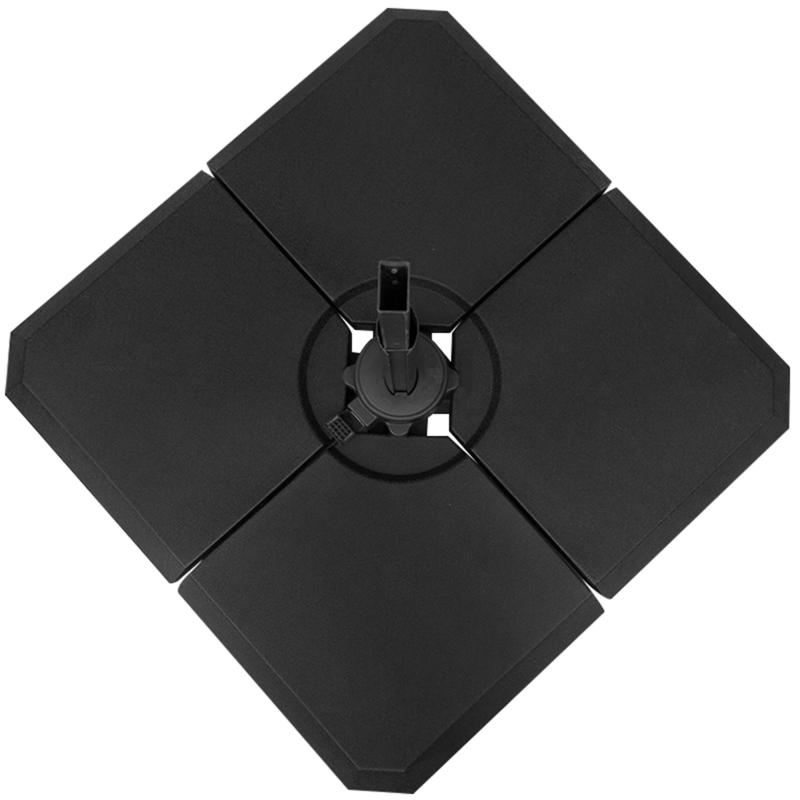 Outsunny Base Sombrilla de 4 Piezas para Meter Peso Soporte para Parasol de Patio Jardín para Llenar de Arena o Agua 100x100x9.5cm Negro