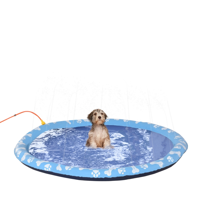PawHut Splash Pad 150cm Aspersor de Juegos de Agua con Rociador Tapete de Salpicaduras Piscina de Verano Portátil para Mascotas Perros Azul