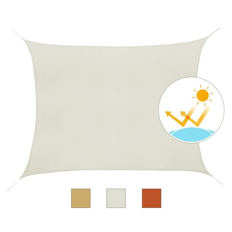 Outsunny Toldo Vela Rectángulo 4x6m de Sombra para Terraza Camping Jardín Resistente al Agua Protección UV Poliéster Tela Beige