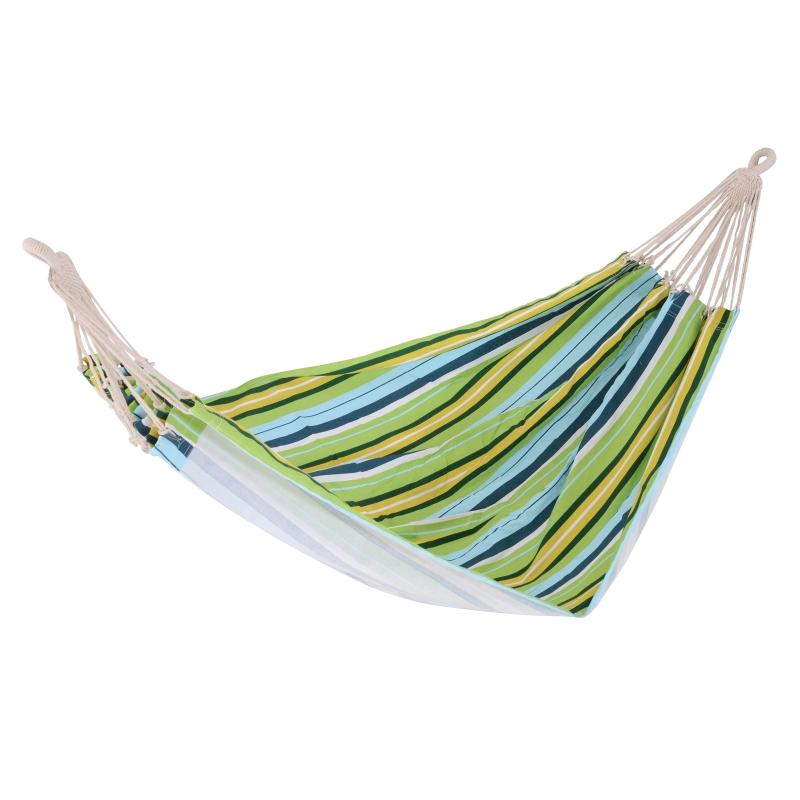 Outsunny HAMACA para Colgar 200x150 cm COLOR Verde Azul y Amarillo para 2 PERSONAS para Playa Piscina Jardin Camping 70% Algodon