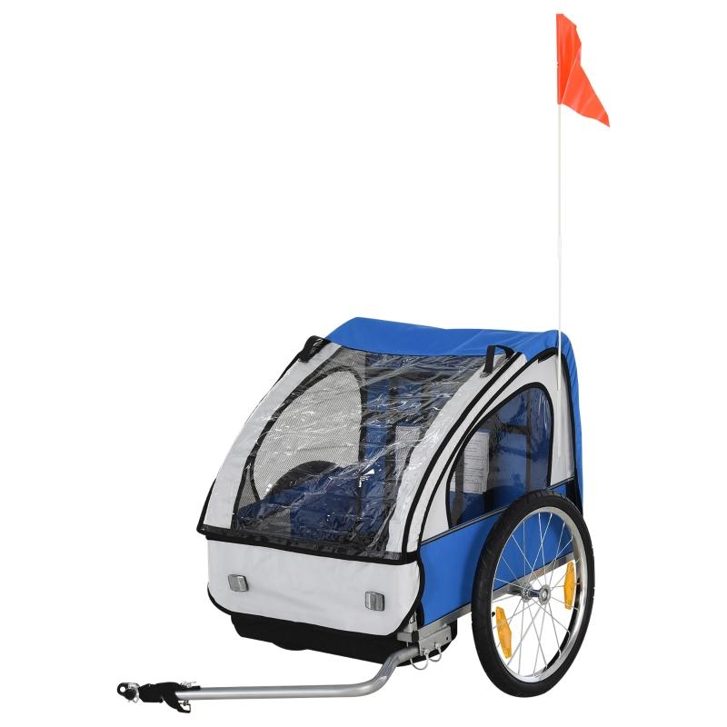 HOMCOM Steel Frame Children's 2-Seater Bicycle Trailer Blue