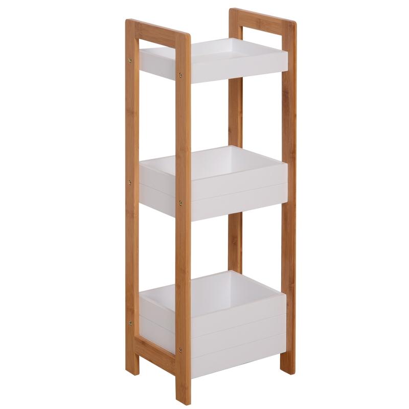 HOMCOM 3-Tier Bathroom Rack-Bamboo