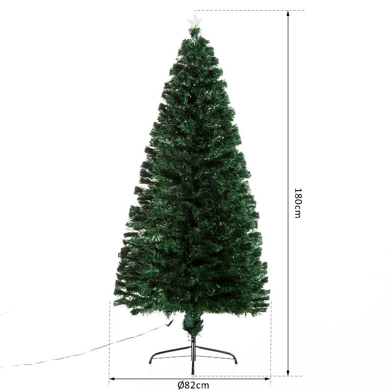HOMCOM Árbol de Navidad grande 180cm de fibra óptica  Artificial Árbol con Soporte Metálico Luces LED Multicolores