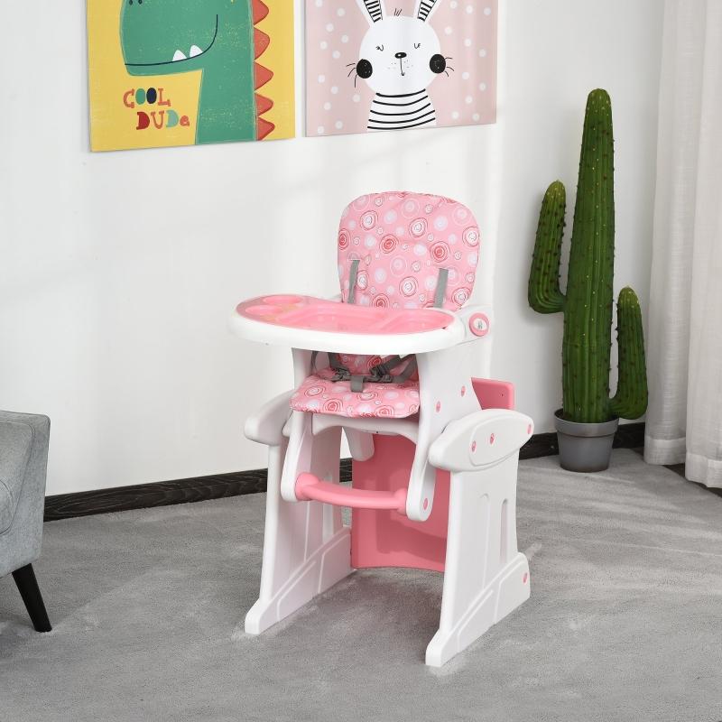 HOMCOM Trona para Bebés 3 en 1 para +6 Meses Multifuncional Ajustable en 3 Posiciones Respaldo Alto Acolchado con 2 Bandejas 57x59x105cm Rosa