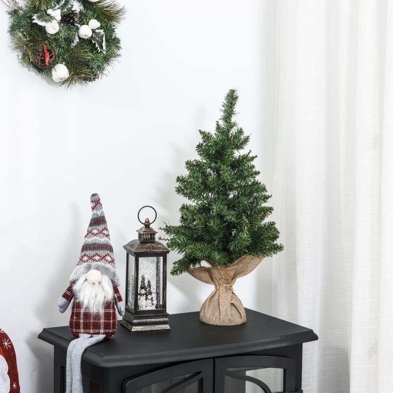 HOMCOM Árbol de Navidad Artificial Pequeño de 60 cm Altura con 70 Ramas Base de Tela Mini Árbol Navideño Realista para Interior Verde