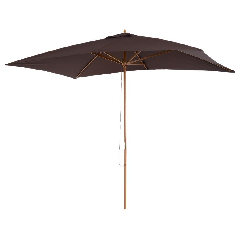 Sombrilla tipo Parasol para Terraza Patio y Jardín - Mástil de Madera - Color Chocolate - 2x3 m