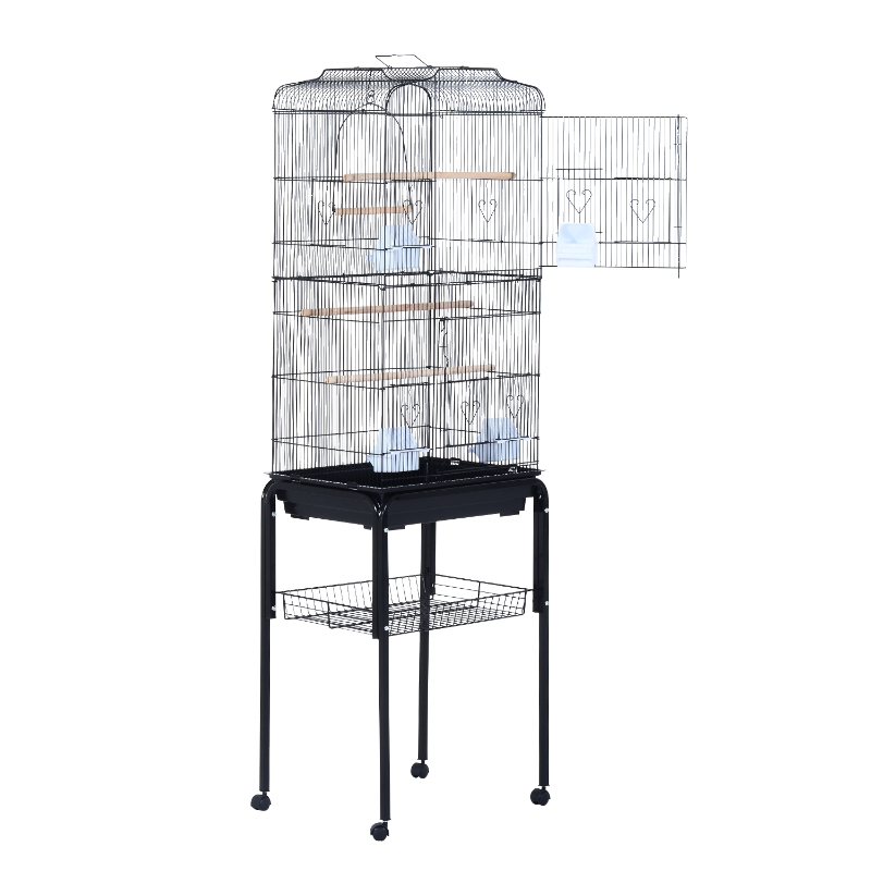 PawHut Jaula para Pájaros con Soporte con Ruedas Pajarera con Bandeja Extraíble y Estante Inferior para Canarios Loros 47,5x37x153 cm Negro