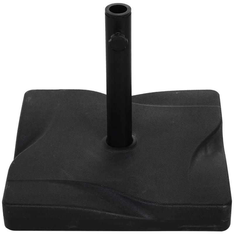 Outsunny Base Cuadrada para Parasol de Jardín Apta para Distintos Diámetros de Poste 30mm 35mm 38mm Negro