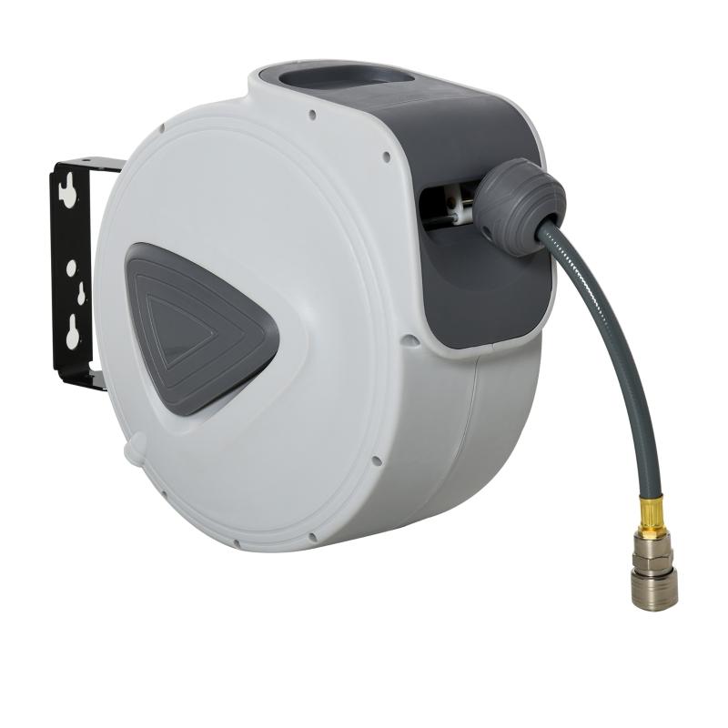 DURHAND Carrete Manguera de Aire Comprimido Automático de 30 m Conector de 1/4'' BSP con Soporte para Pared Giratorio 180° Diámetro Interno 3/8'' (9,5x15 mm) Gris