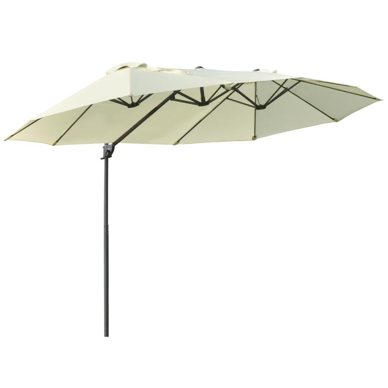 Outsunny Sombrilla Doble Parasol Grande Inclinable para Jardín Terraza con Manivela Abrir y Cerrar Fácilmente 12 Varillas de Acero 270x440x250cm